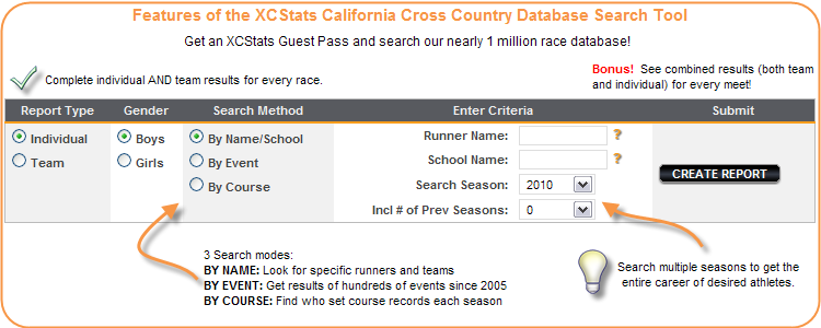 Search the XCStats database